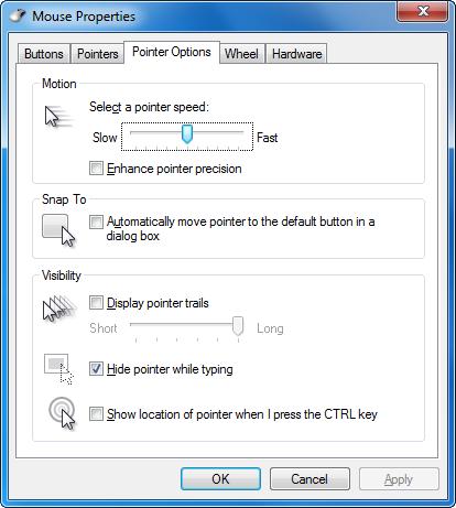 Windows Pointer Options